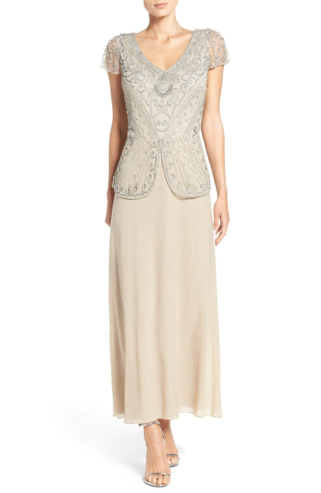 Alternate Image 1 Selected - Pisarro Nights Embellished Mesh Gown (Regular & Petite)