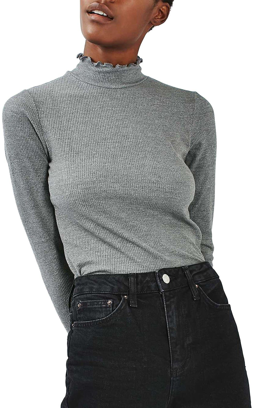 Main Image - Topshop Lettuce Edge Turtleneck