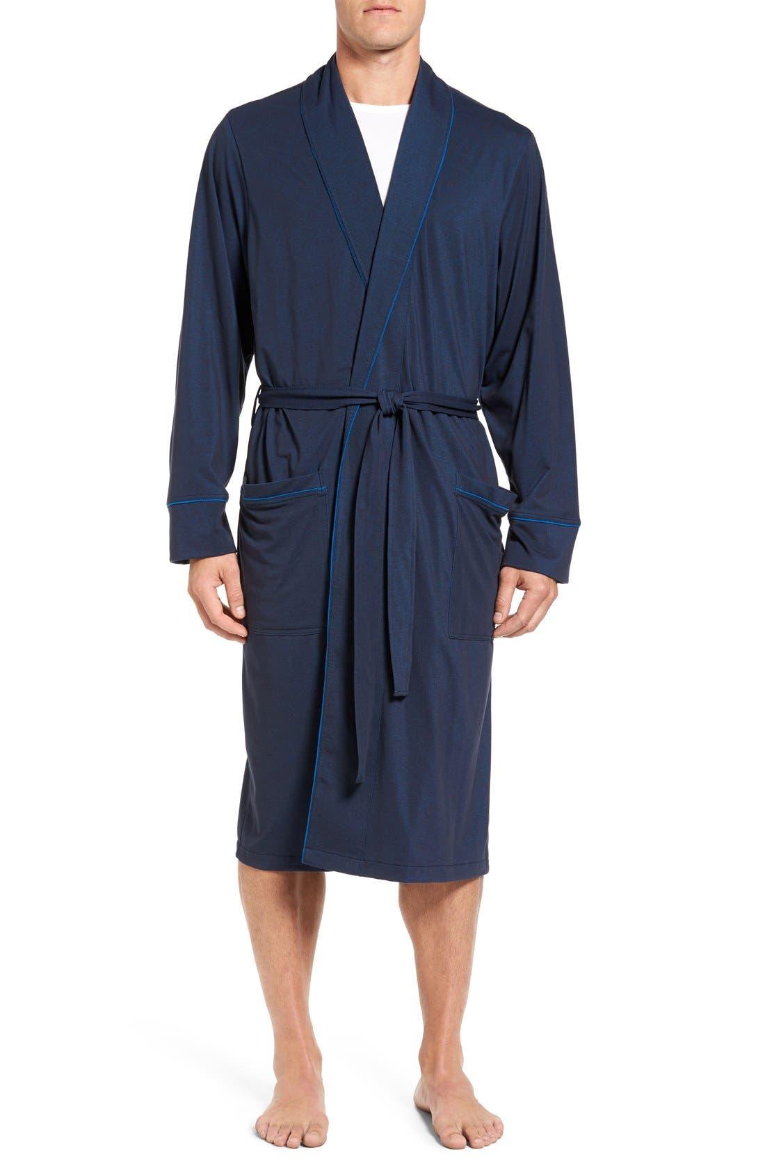 Cotton Blend Robe,                         Main,                         color, Navy Mix
