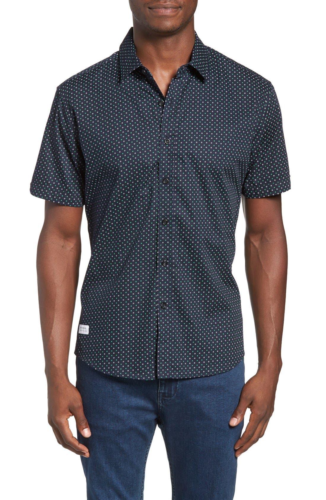 Chameleon Trim Fit Print Woven Shirt,                         Main,                         color, Green