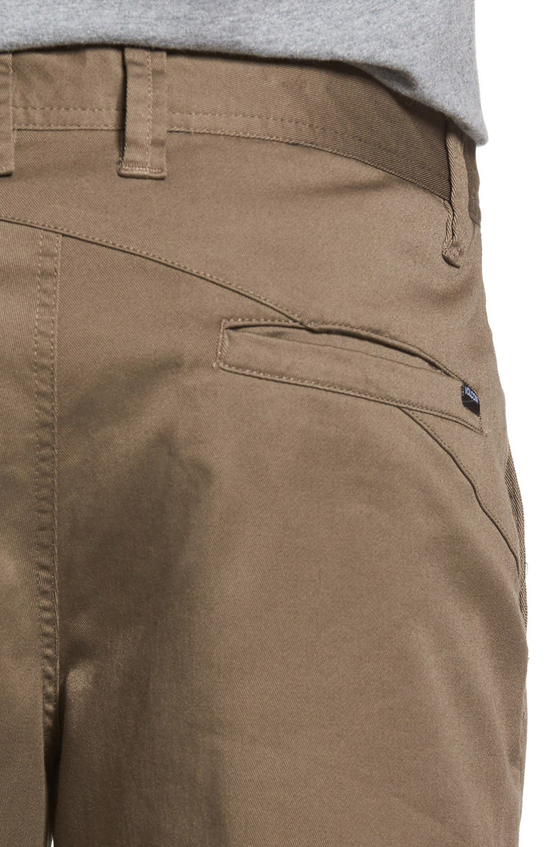 'Modern' Stretch Chino Shorts,                             Alternate thumbnail 4, color,                             Mushroom