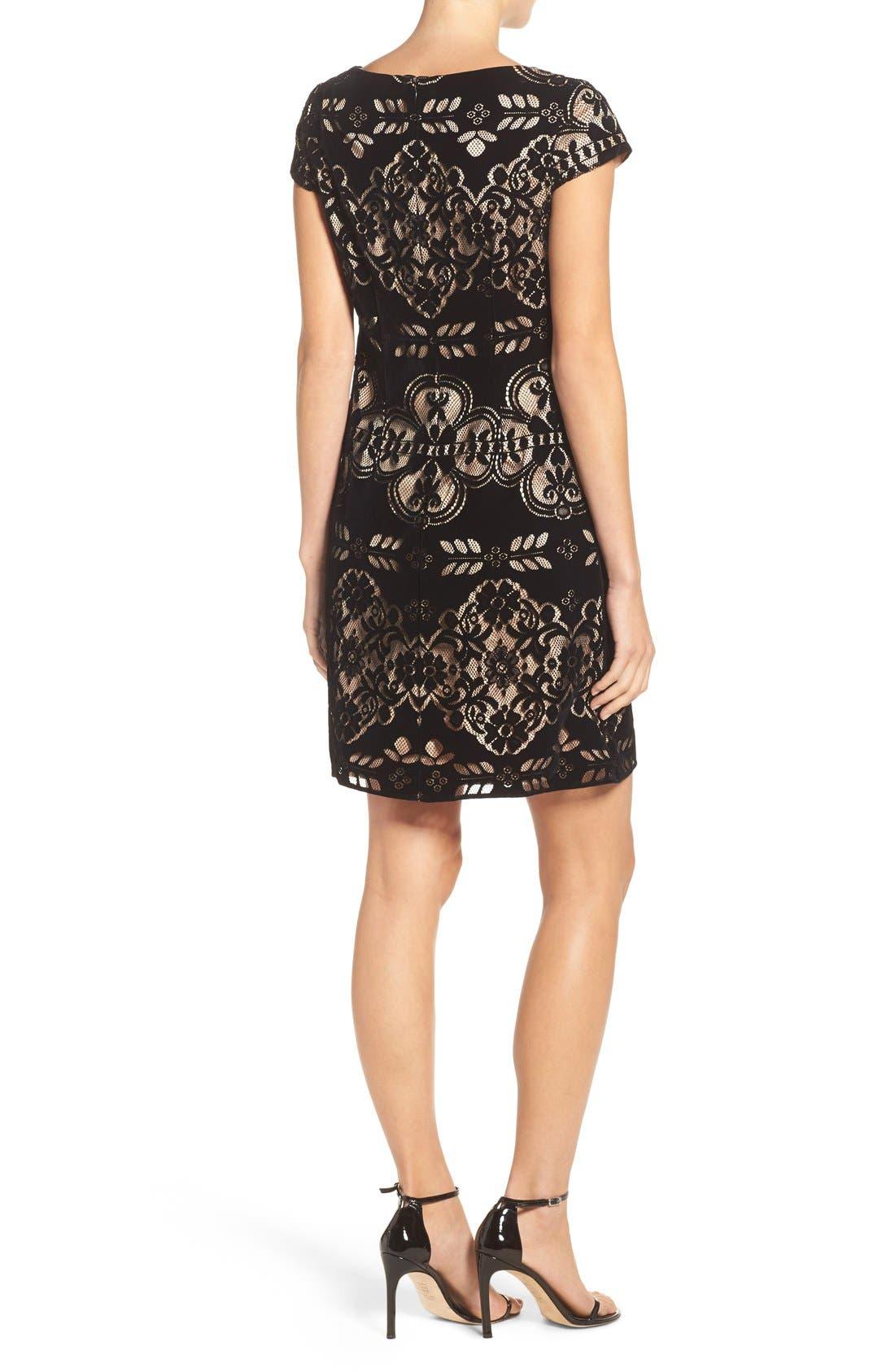 Alternate Image 2  - Eliza J Burnout Velvet Sheath Dress (Regular & Petite)