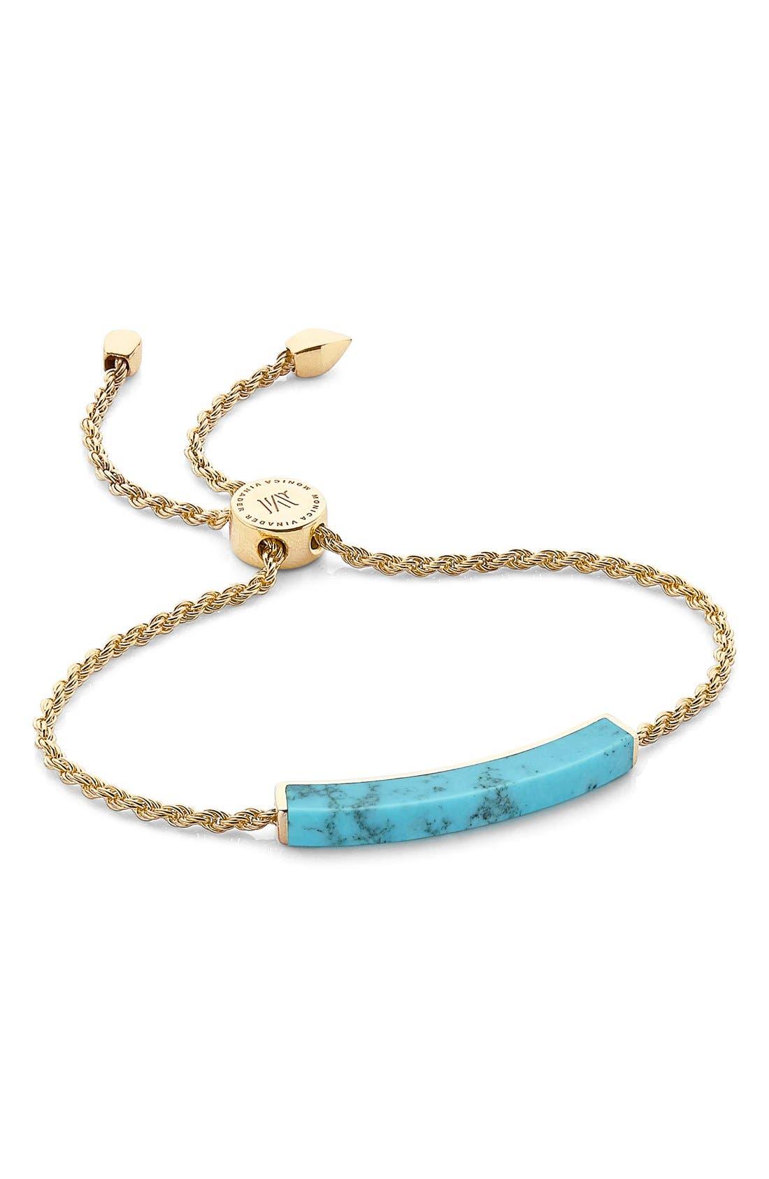 Linear Semiprecious Stone Bracelet,                             Main thumbnail 1, color,                             Gold/ Turquoise