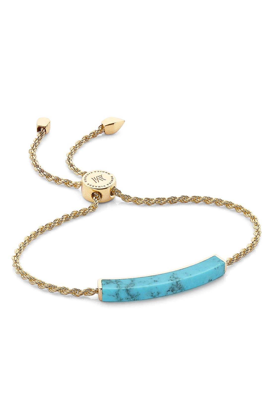 Linear Semiprecious Stone Bracelet,                         Main,                         color, Gold/ Turquoise