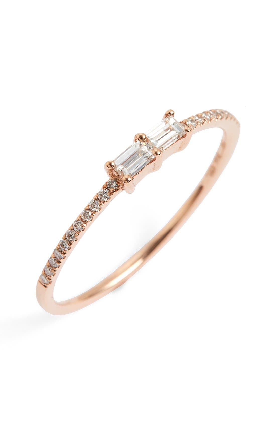 Double Baguette Diamond Ring,                             Main thumbnail 1, color,                             Rose Gold