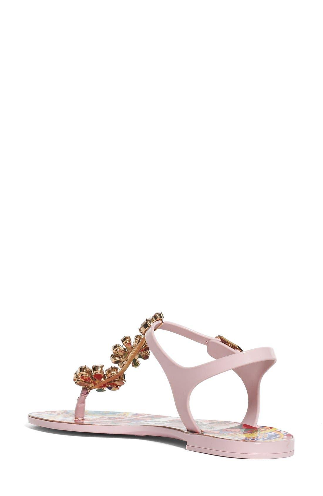 Alternate Image 2  - Dolce&Gabbana Carretto Embellished Jelly Sandal (Women)