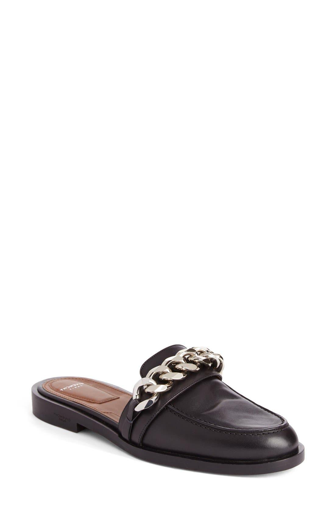 Chain Strap Loafer Mule,                             Main thumbnail 1, color,                             Black