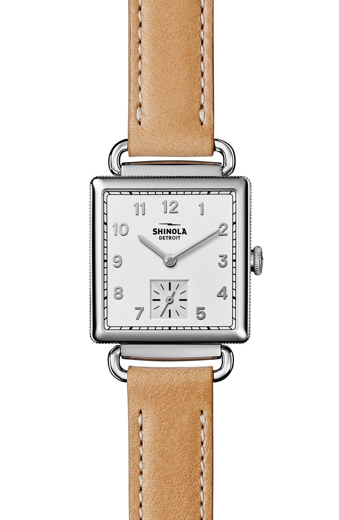 Cass Leather Strap Watch, 28mm,                         Main,                         color, Beige/ Silver