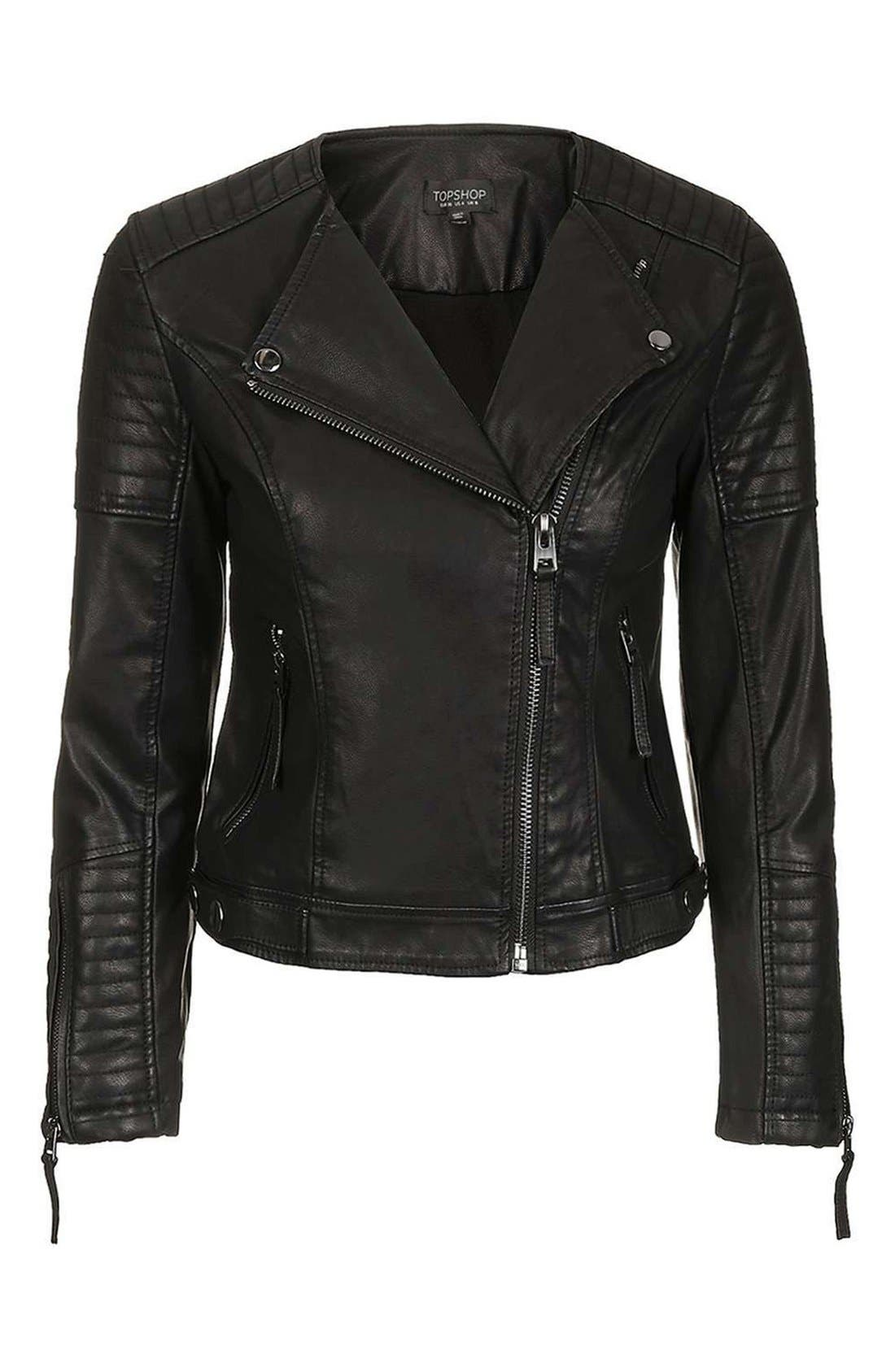 Alternate Image 5  - Topshop Nelly Faux Leather Biker Jacket