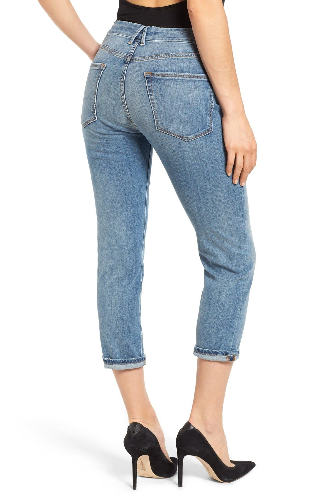 Alternate Image 2  - Good American Good Cuts High Rise Boyfriend Jeans (Blue 012) (Extended Sizes)