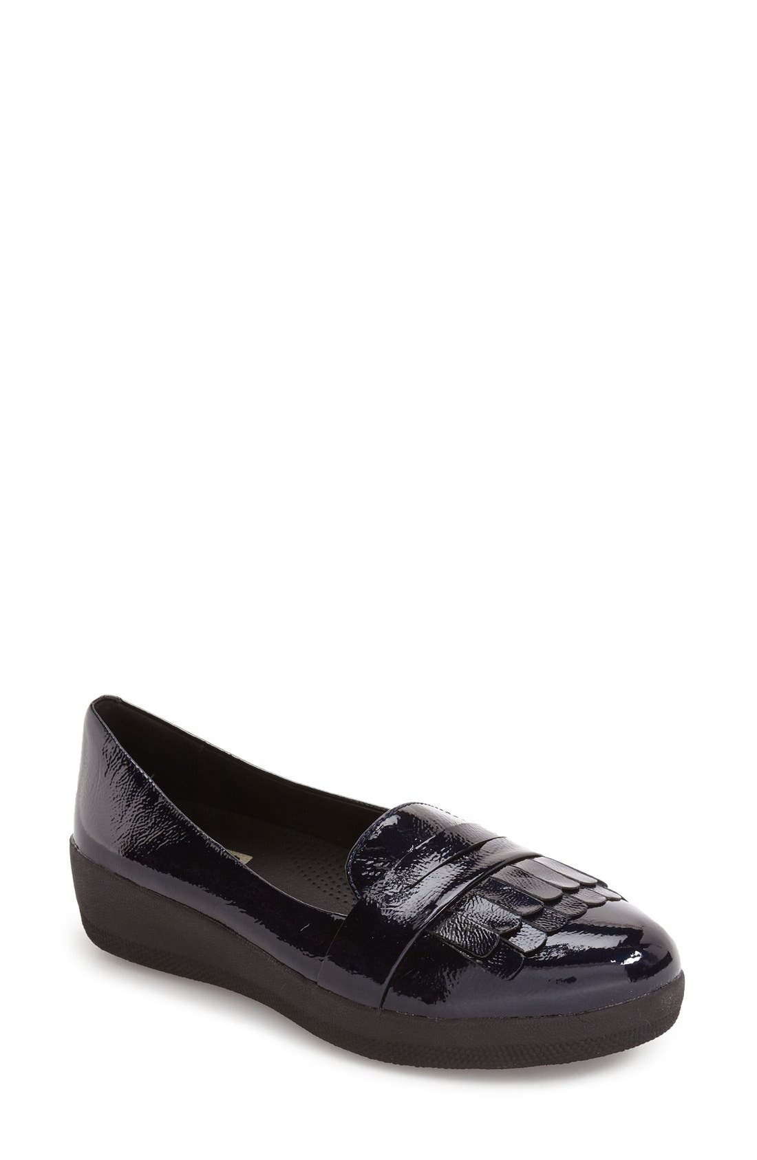 Fringey Loafer,                         Main,                         color, Inky Blue Leather