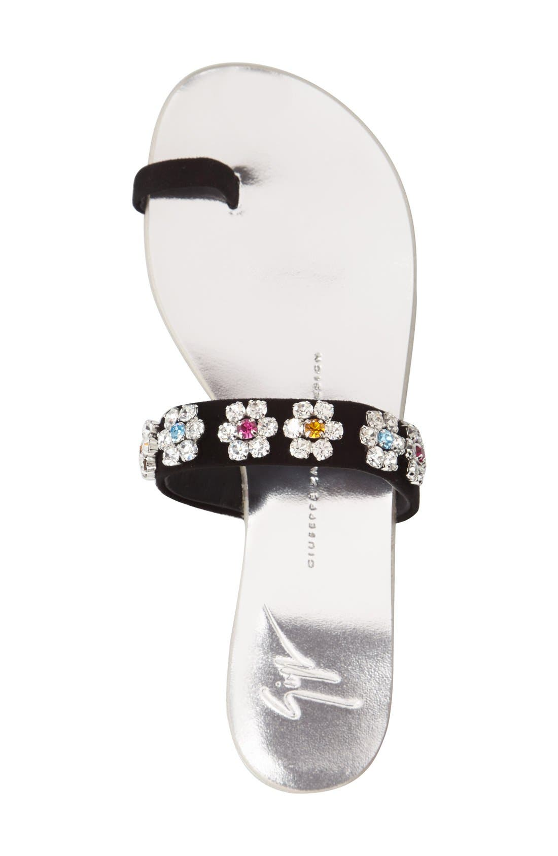 Alternate Image 3  - Giuseppe Zanotti Crystal Embellished Flat Sandal (Women)