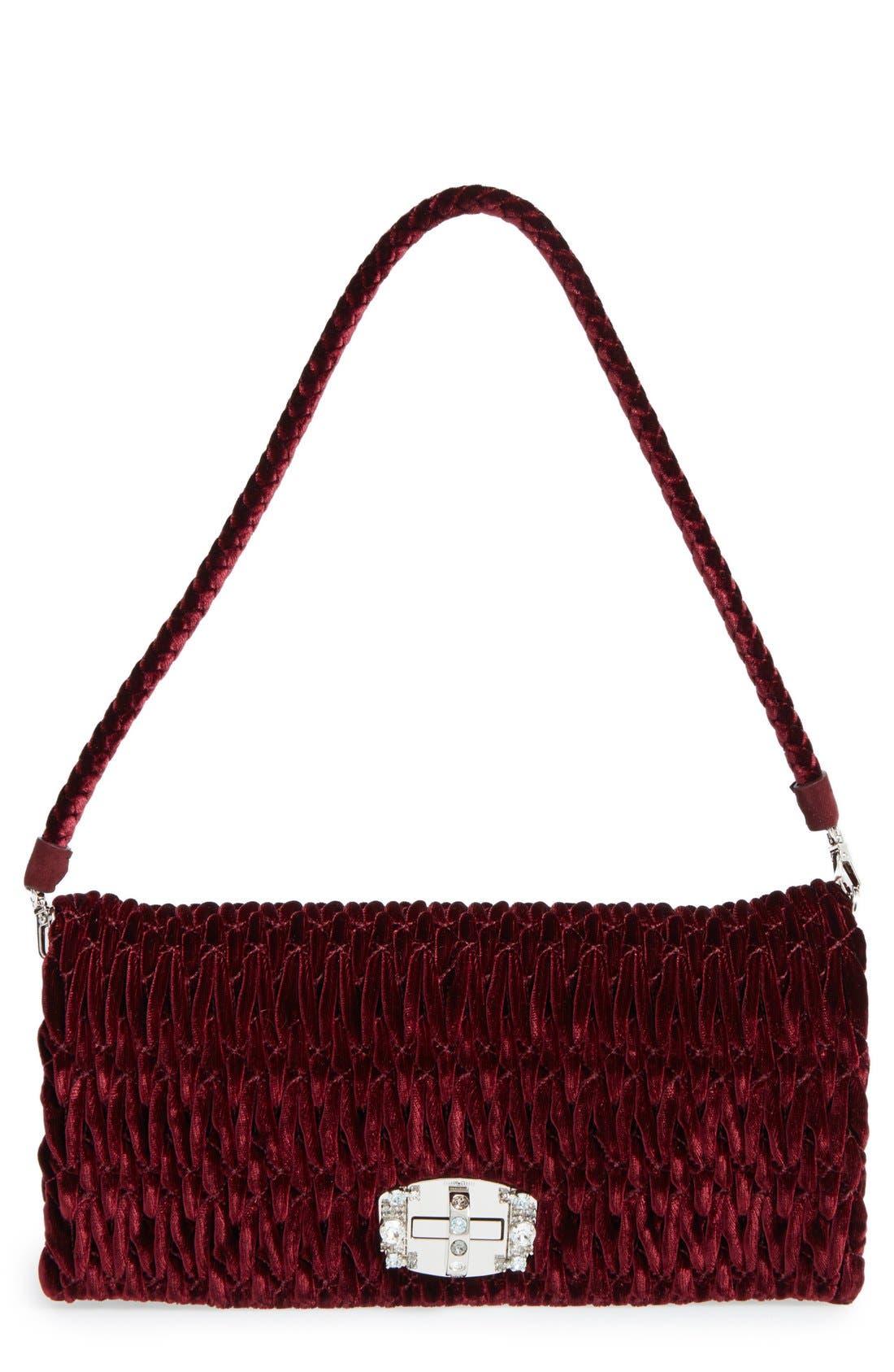 Medium Crystal Embellished Quilted Velvet Shoulder Bag,                             Main thumbnail 1, color,                             Bordeaux