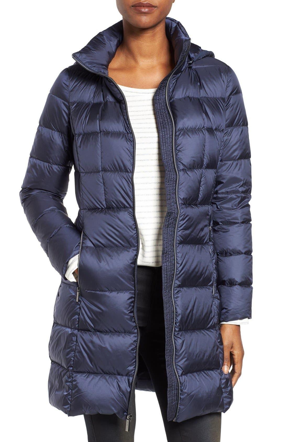 Packable Down Coat,                         Main,                         color, Dark Blue