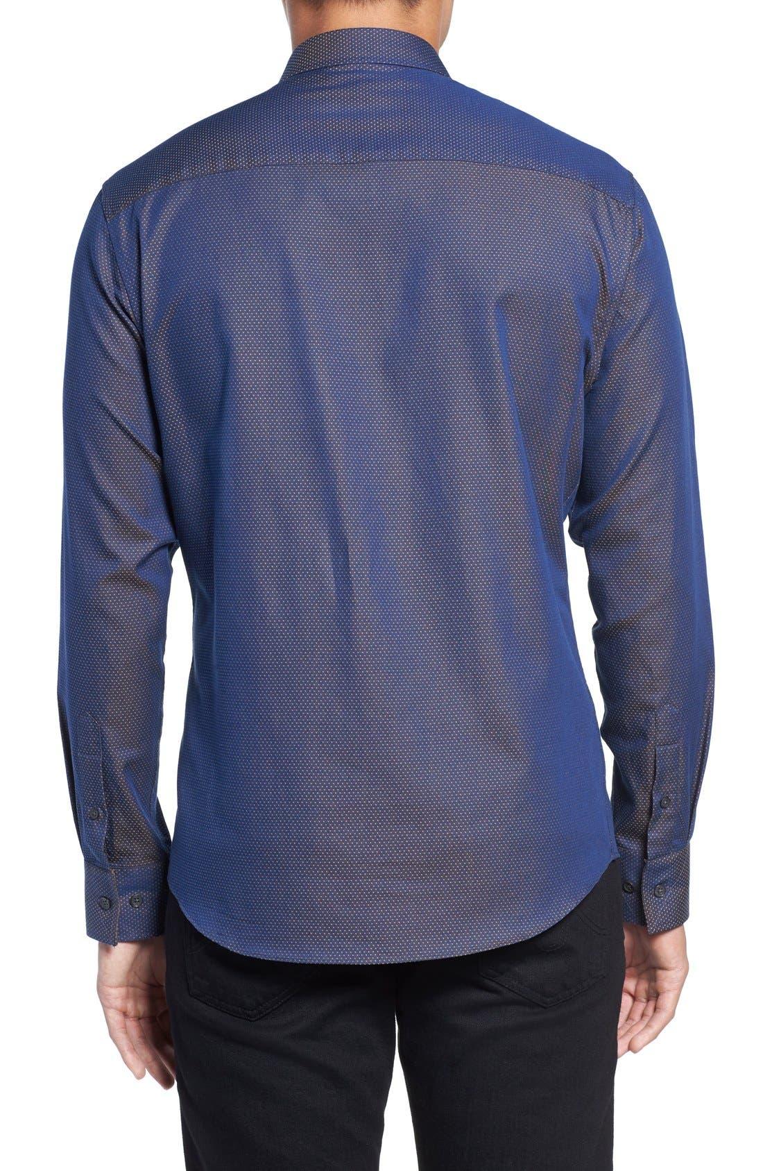 Slim Fit Print Sport Shirt,                             Alternate thumbnail 2, color,                             Navy/ Gold Pindot Dobby