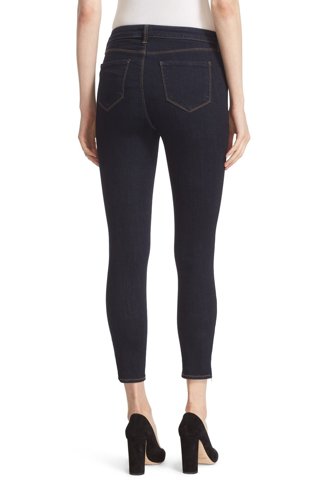 'Andrea' Ankle Zip Skinny Jeans,                             Alternate thumbnail 2, color,                             Midnight