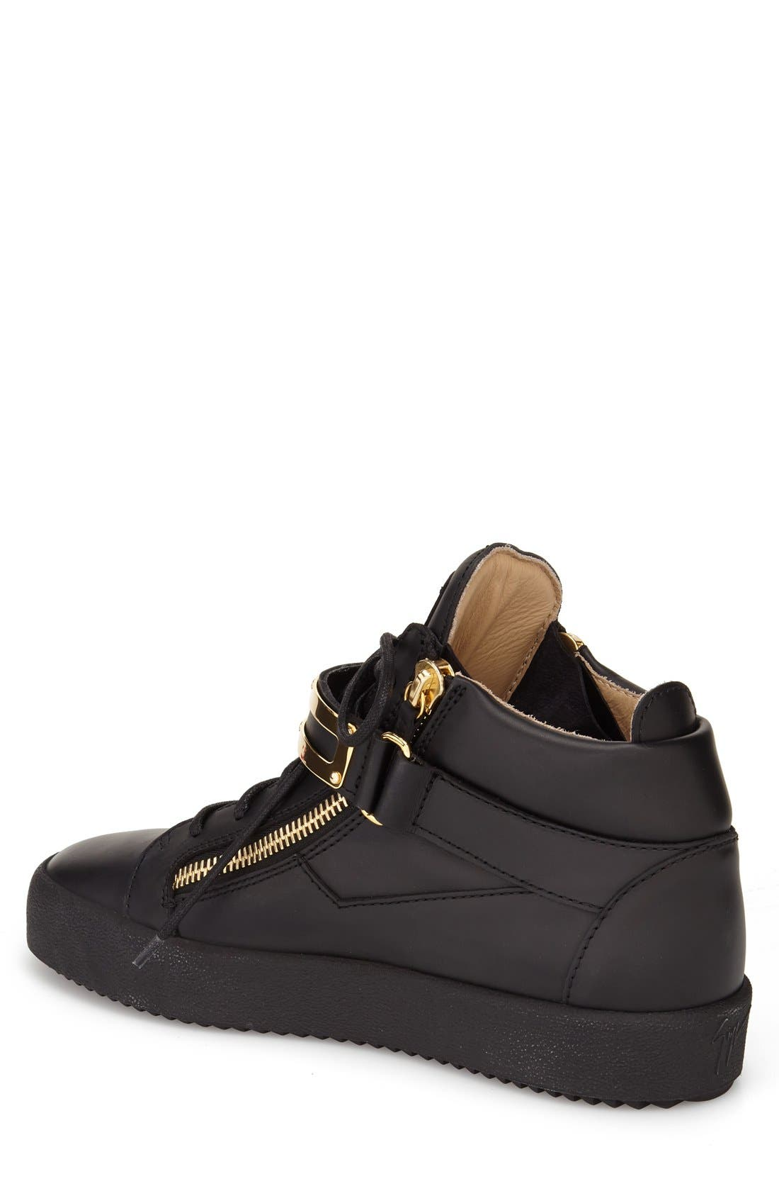 Side Zip High Top Sneaker,                             Alternate thumbnail 2, color,                             Nero Leather