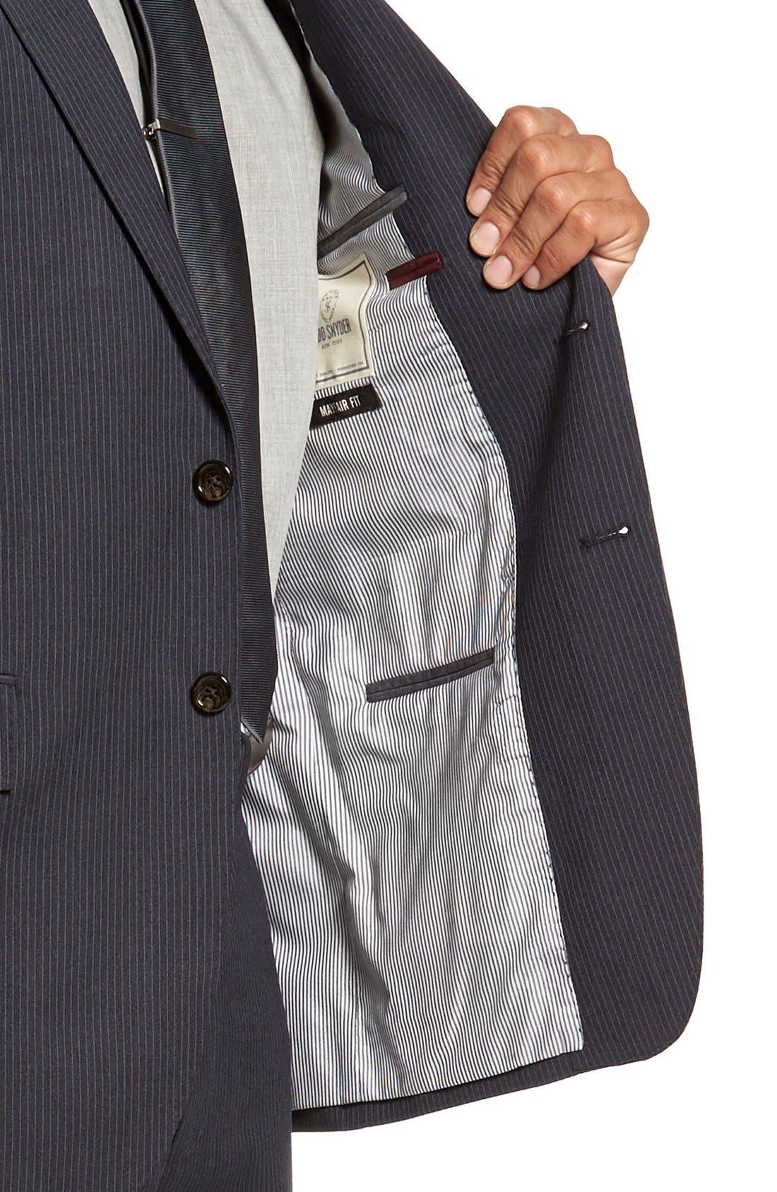 Trim Fit Stripe Wool Suit,                             Alternate thumbnail 5, color,                             Dark Grey