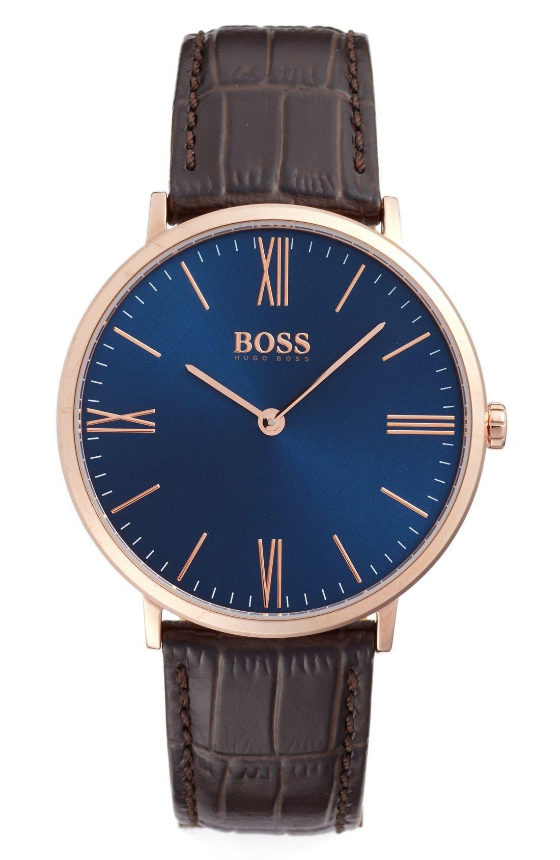 BOSS Slim Jackson Leather Strap Watch, 40mm
