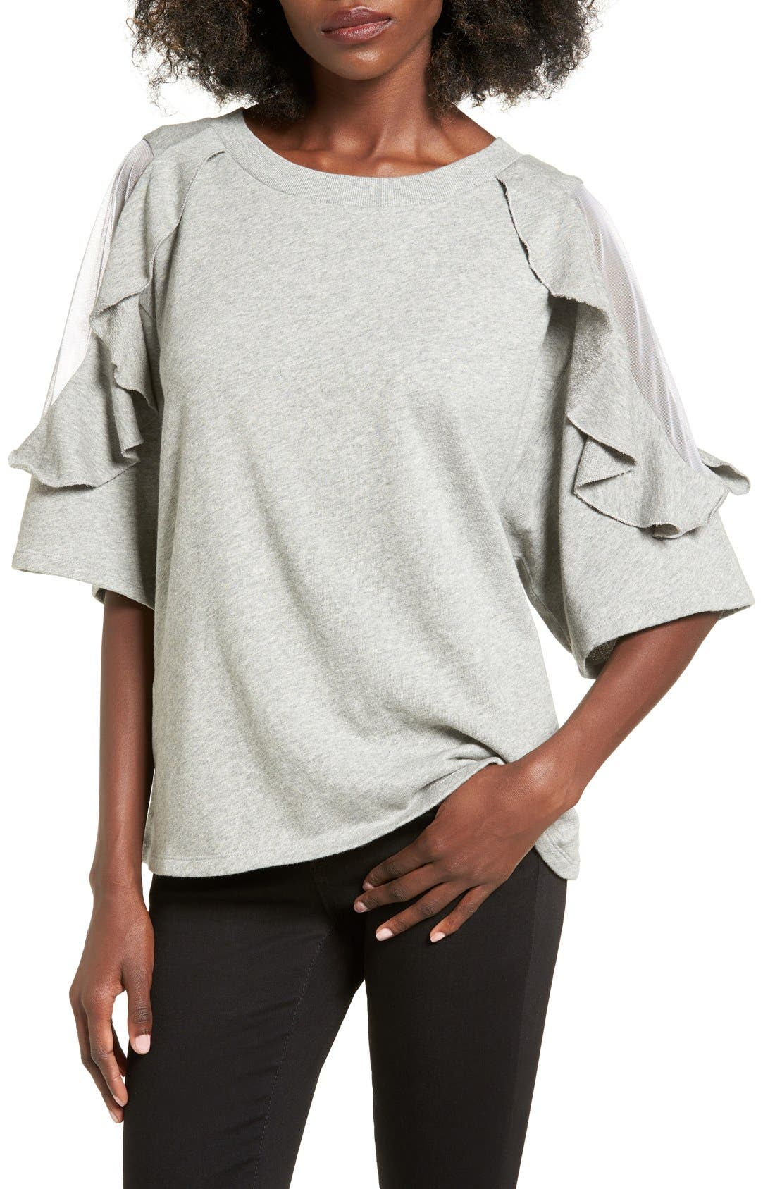 Main Image - BP. Ruffle Sleeve Sweatshirt