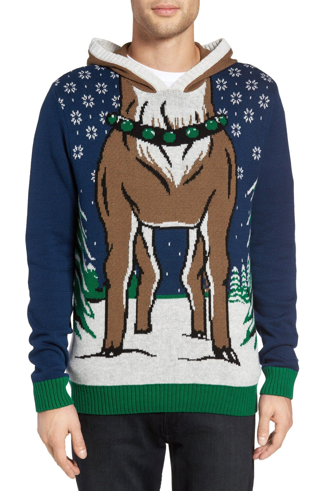 Alternate Image 1 Selected - The Rail Reindeer Intarsia Hooded Sweater