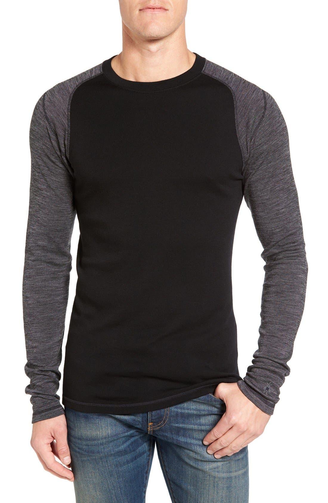 Merino 250 Base Layer Pattern Crewneck T-Shirt,                             Main thumbnail 1, color,                             Black/ Light Gray