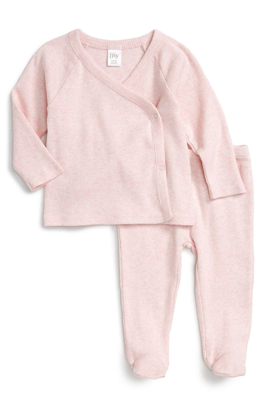 Wrap Top & Footed Pants Set,                         Main,                         color, Pink Baby Heather