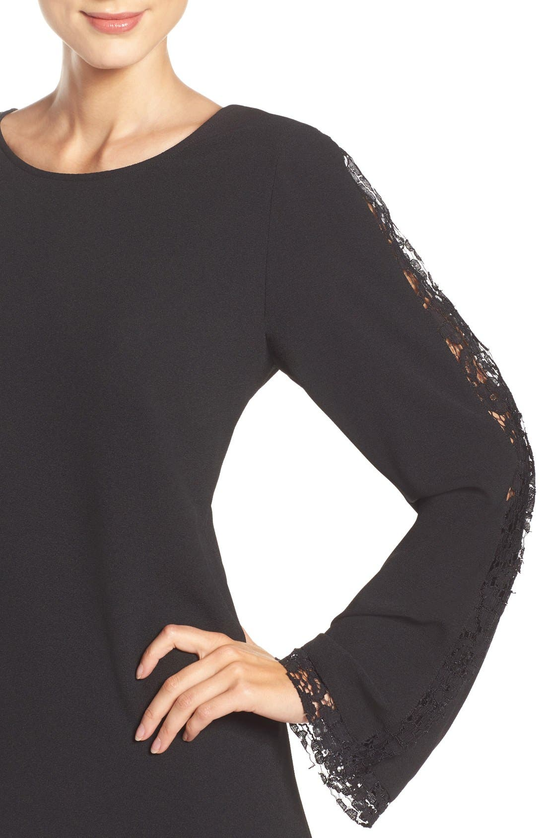 Lacey Bell Sleeve Shift Dress,                             Alternate thumbnail 5, color,                             Black