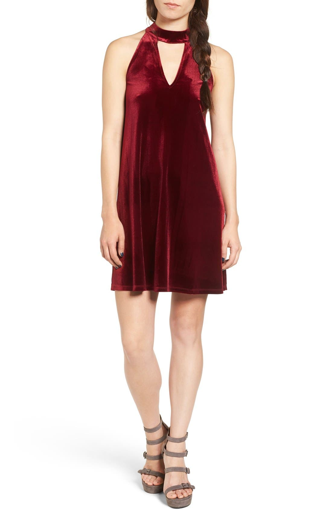 Alternate Image 1 Selected - One Clothing Keyhole Velvet Swing Dress