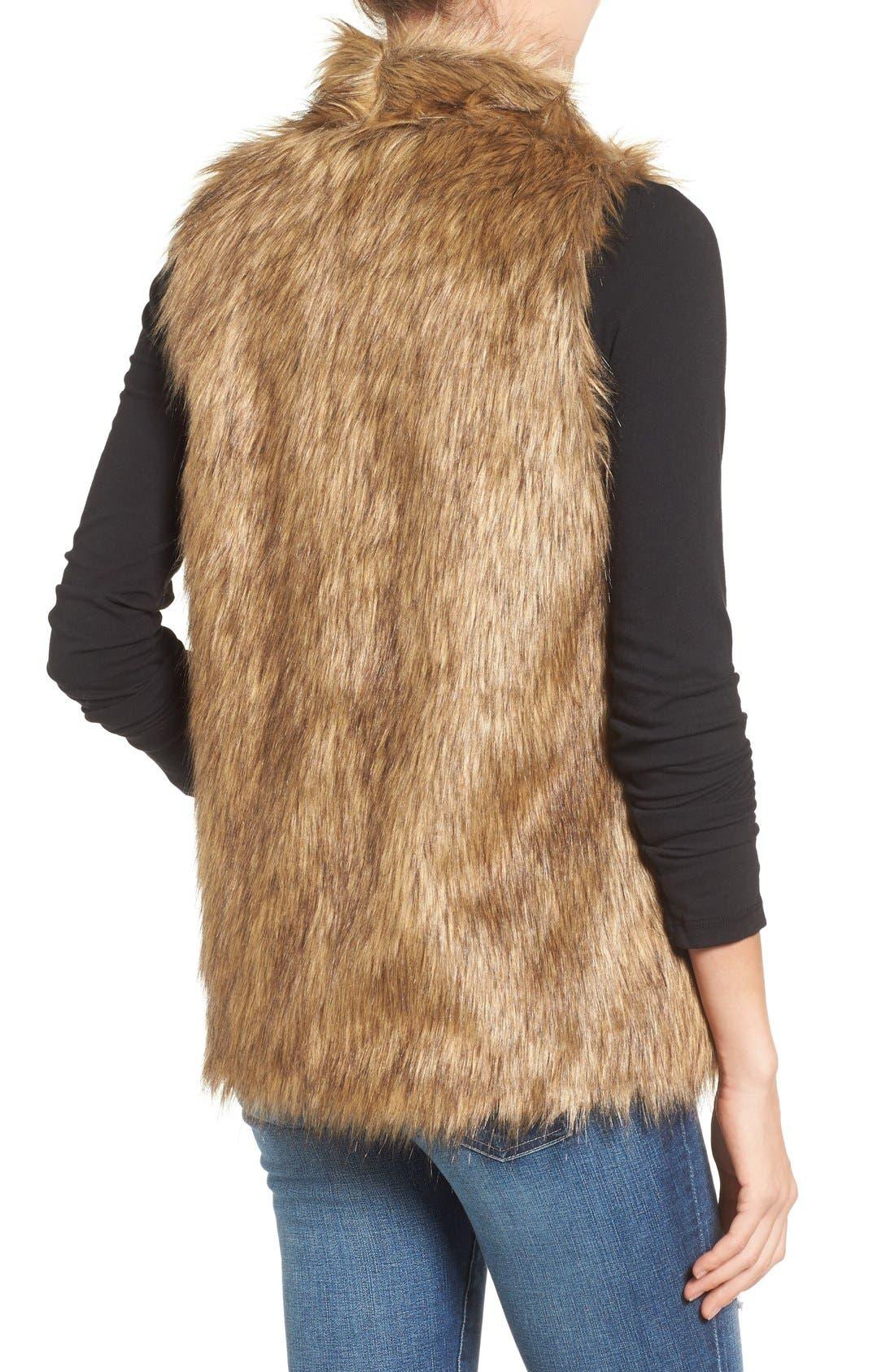 Faux Fur Vest,                             Alternate thumbnail 2, color,                             Tan Brown Faux Fur