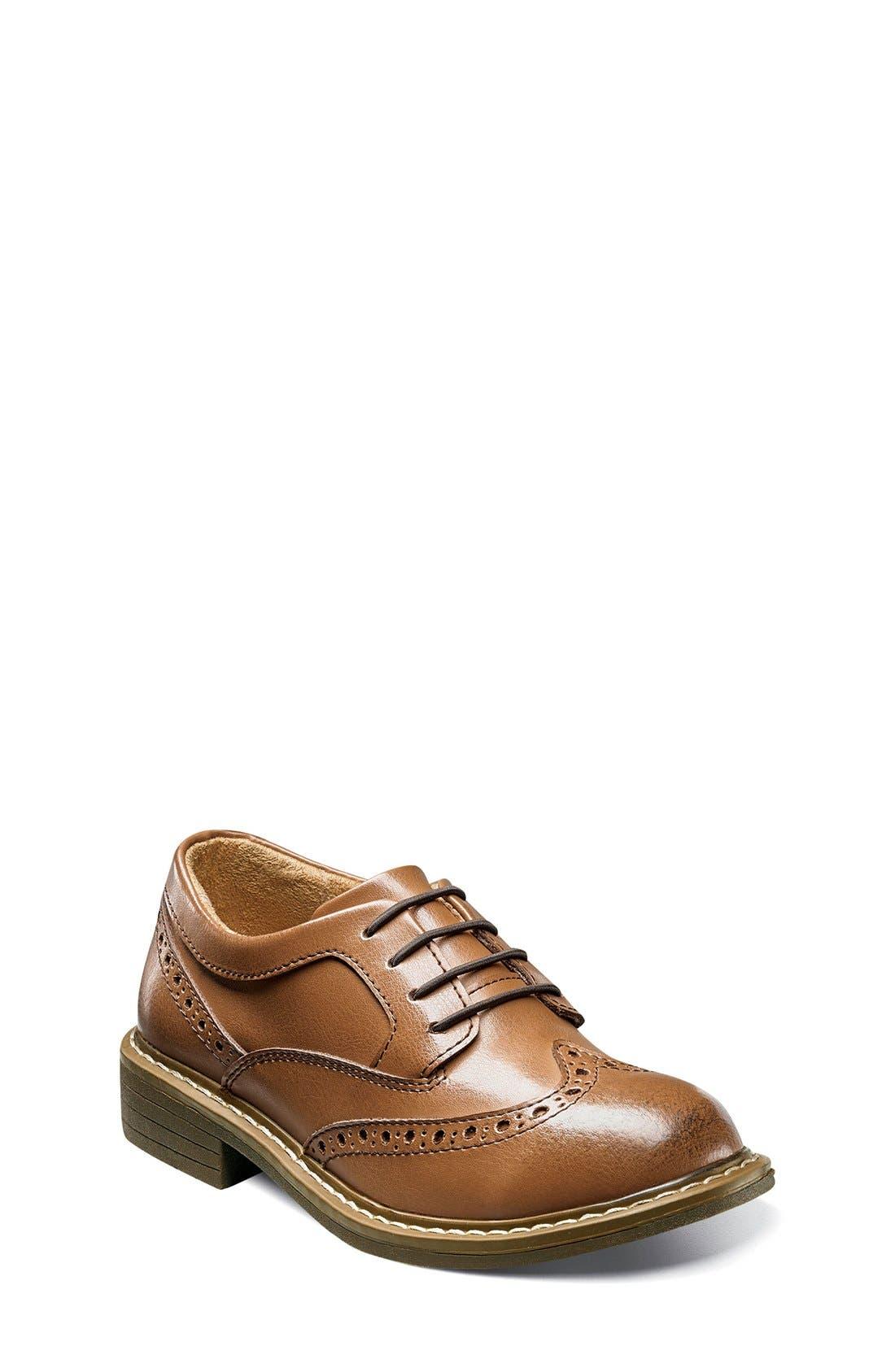'Studio' Wingtip Oxford,                             Main thumbnail 1, color,                             Cognac Leather