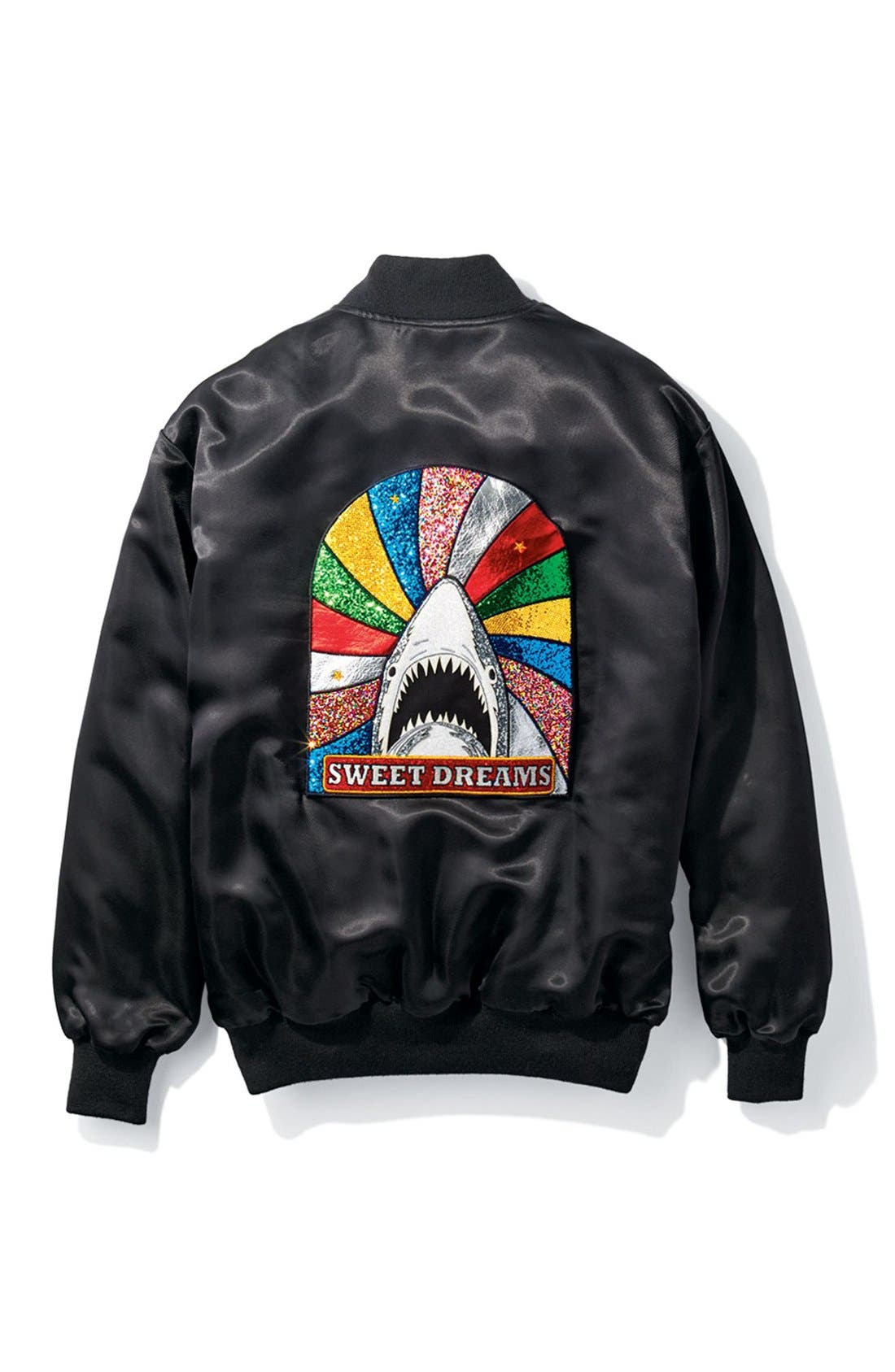 Alternate Image 8  - Saint Laurent 'Teddy' Oversize Patch Satin Bomber Jacket