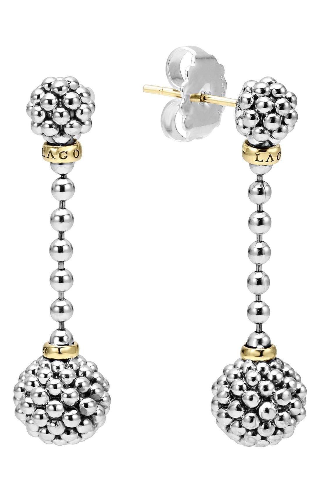 Caviar Lattice Ball Drop Earrings,                         Main,                         color, Silver/ Gold