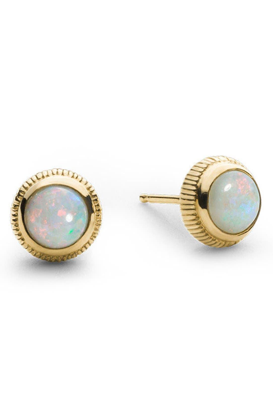 Opal Stud Earrings,                         Main,                         color, Gold
