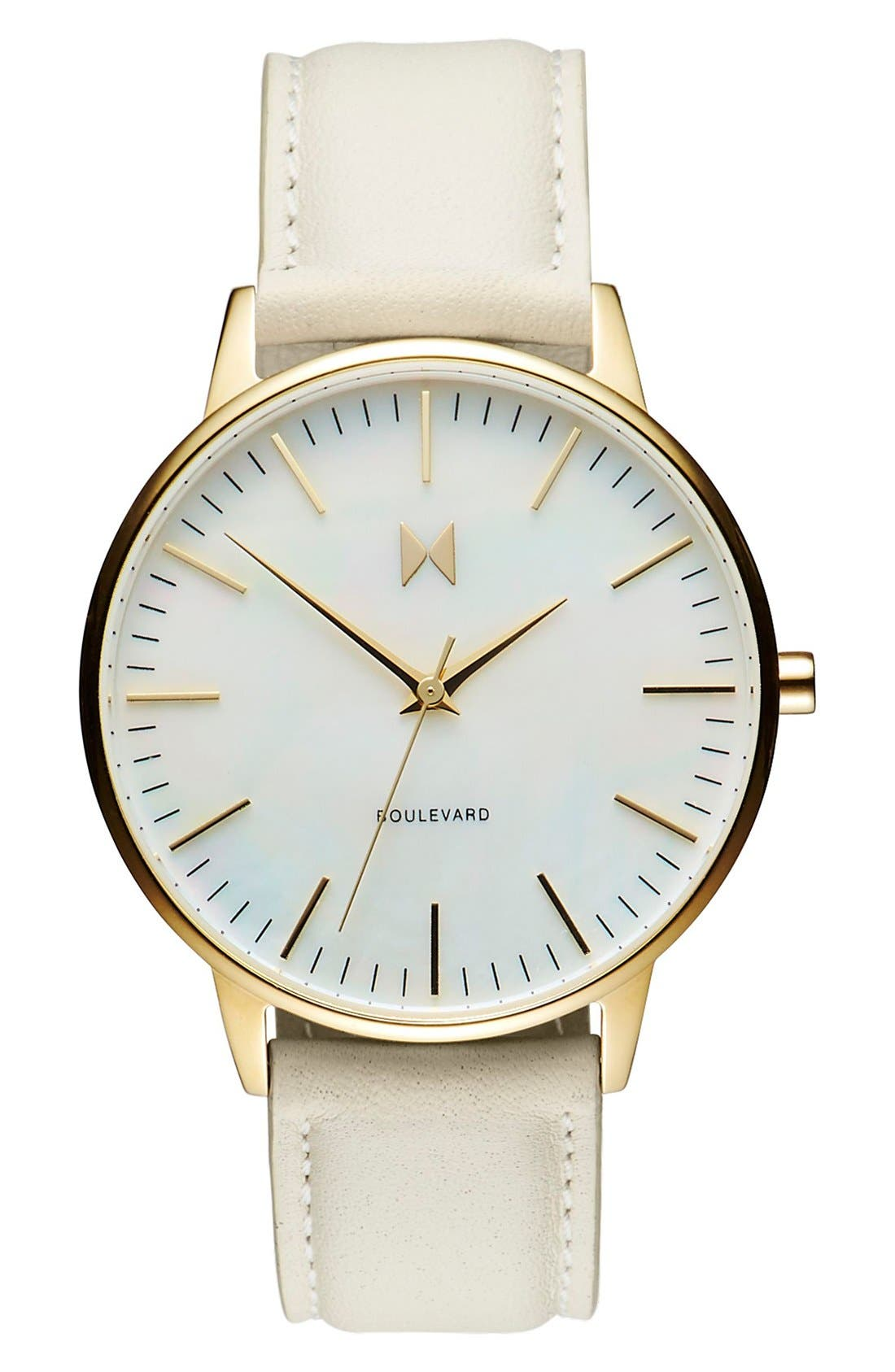 Boulevard Leather Strap Watch, 38mm,                             Main thumbnail 1, color,                             Cream/ Mother Of Pearl/ Gold