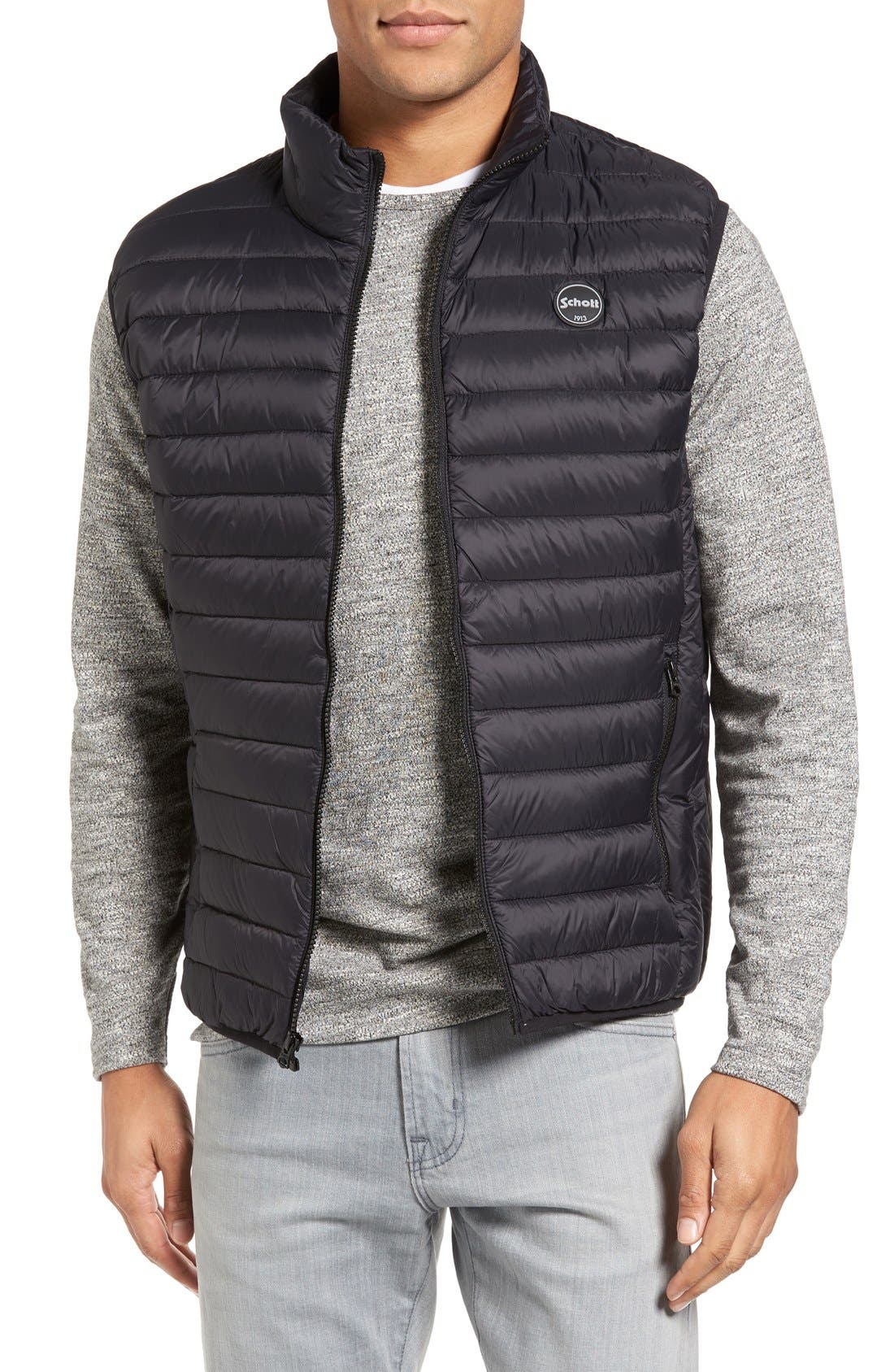 Lightweight Quilted Down Vest,                             Main thumbnail 1, color,                             Black