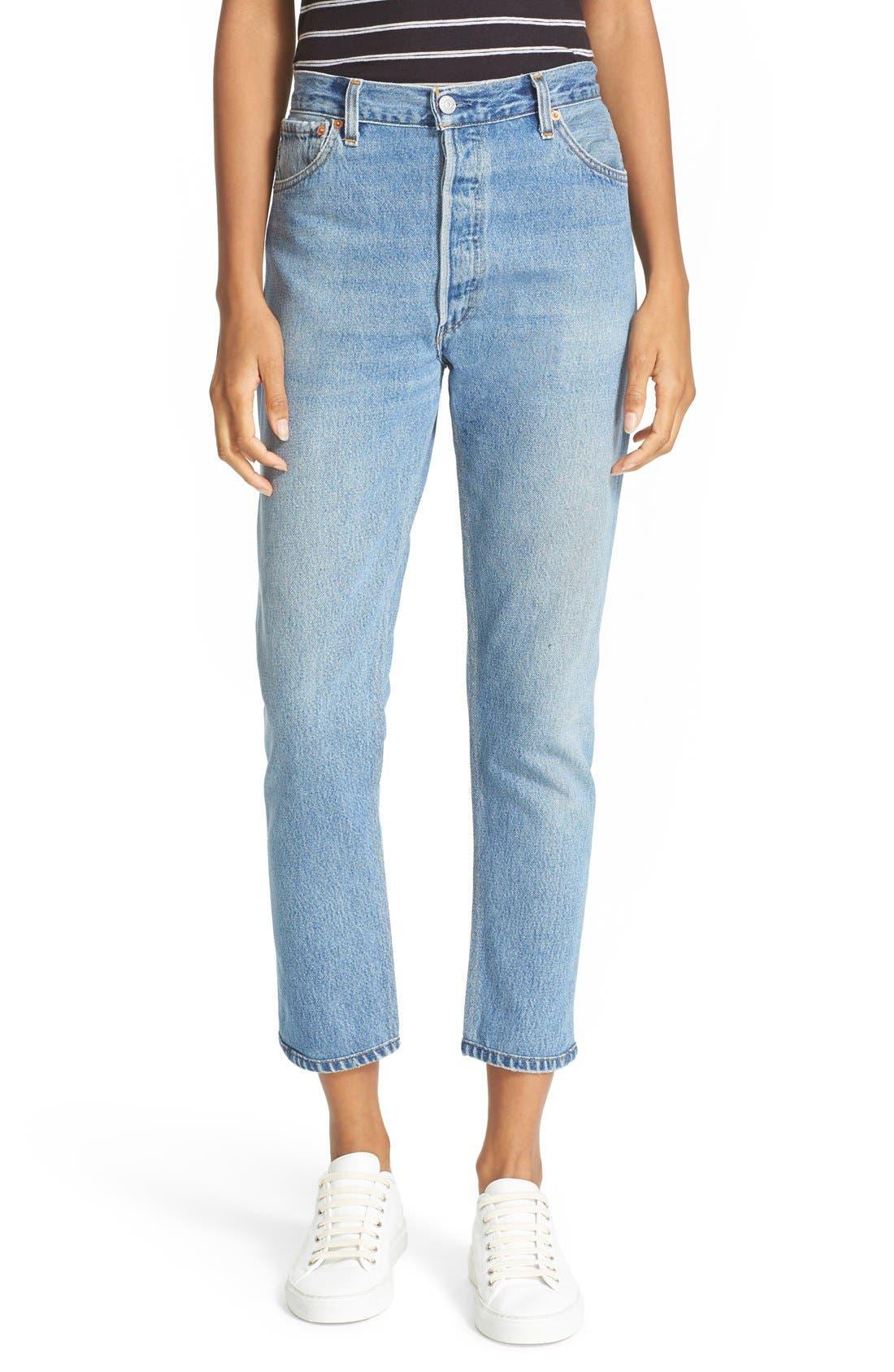 Reconstructed High Waist Ankle Crop Jeans,                         Main,                         color, No Destruction