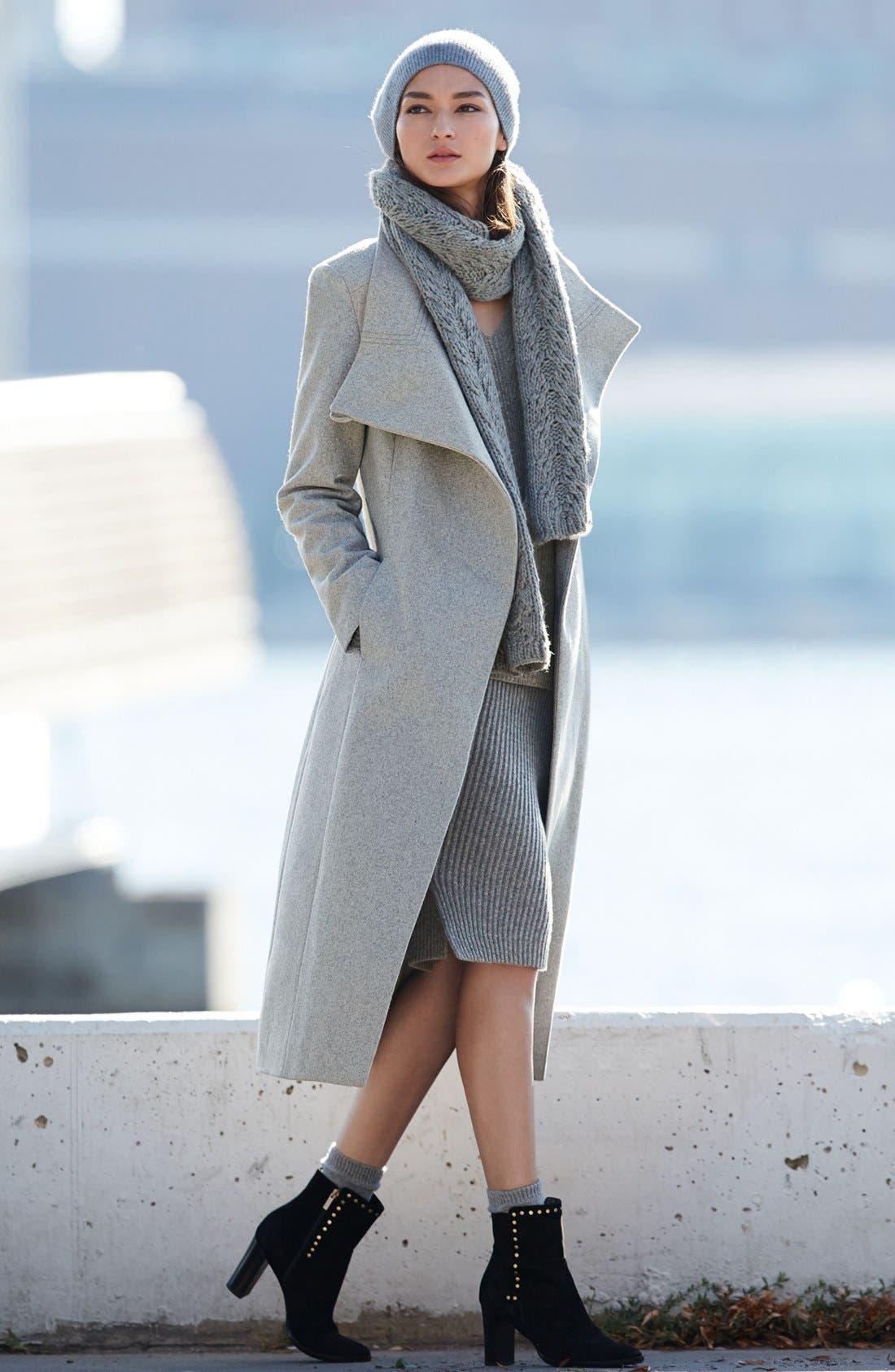 Kenneth Cole New York Maxi Coat & Eliza J Dress Outfit with Accessories