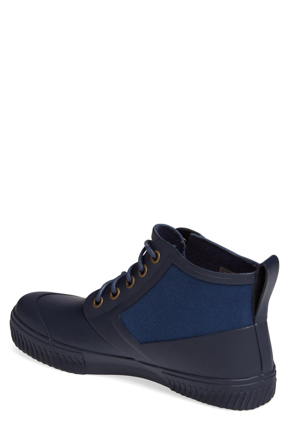 Mid Top Lace-Up Rain Boot,                             Alternate thumbnail 2, color,                             Navy