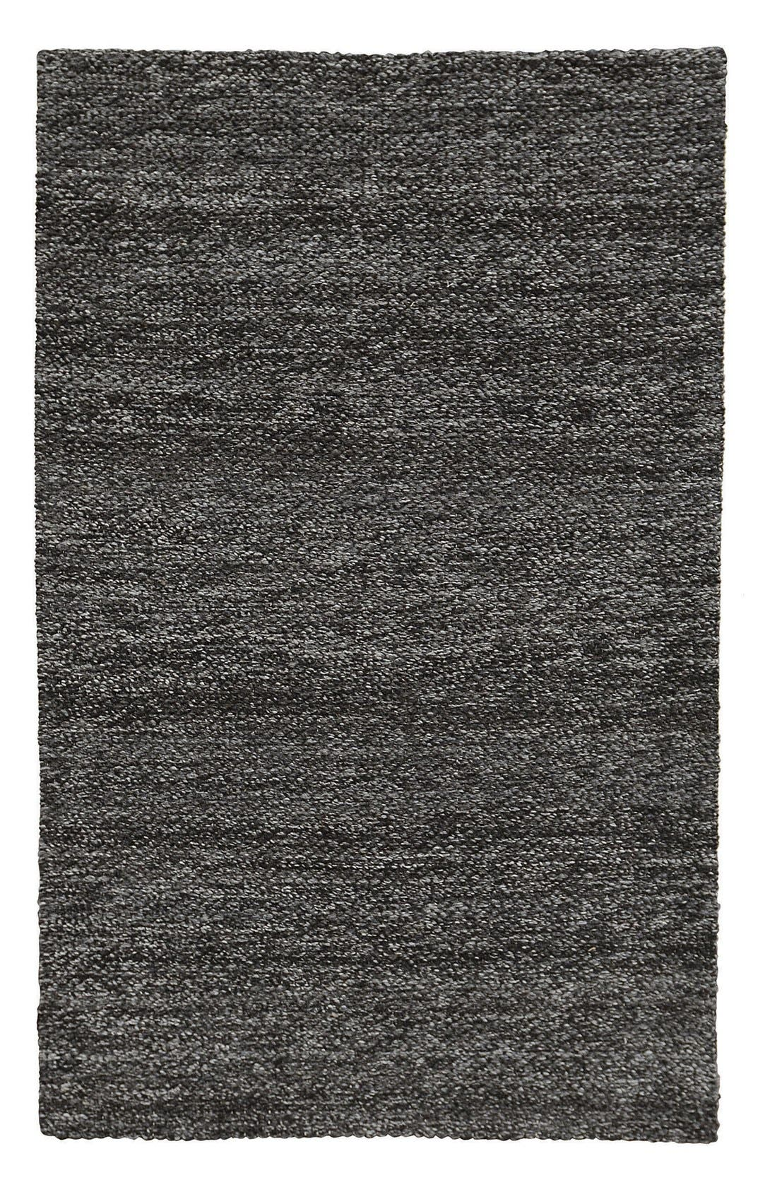 Heathered Wool Rug,                         Main,                         color, Black