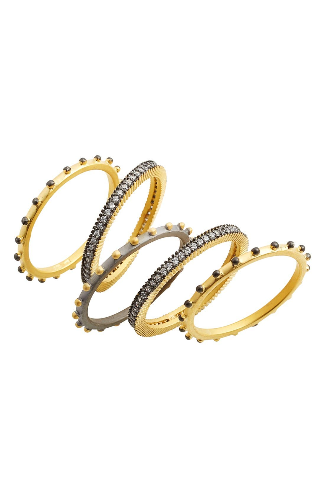 Contemporary Deco Stacking Rings,                         Main,                         color, Gold/ Gunmetal