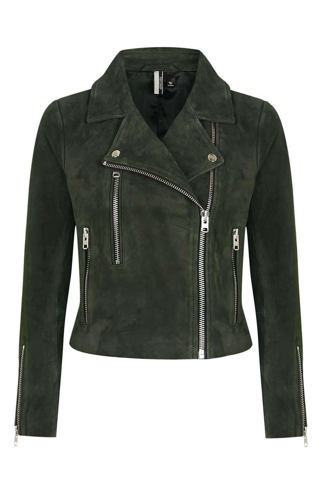 'Julie' Suede Moto Jacket,                             Alternate thumbnail 4, color,                             Green