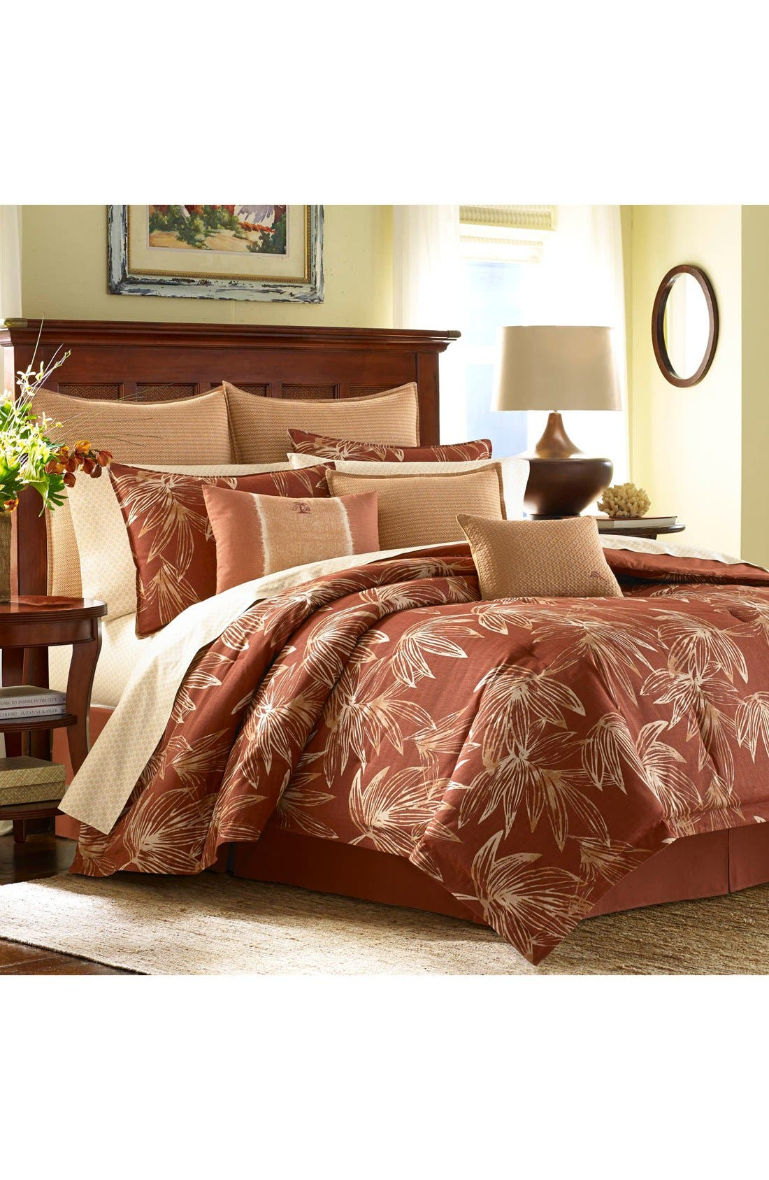 Cayo Coco Comforter, Sham & Bed Skirt Set,                         Main,                         color, Rust