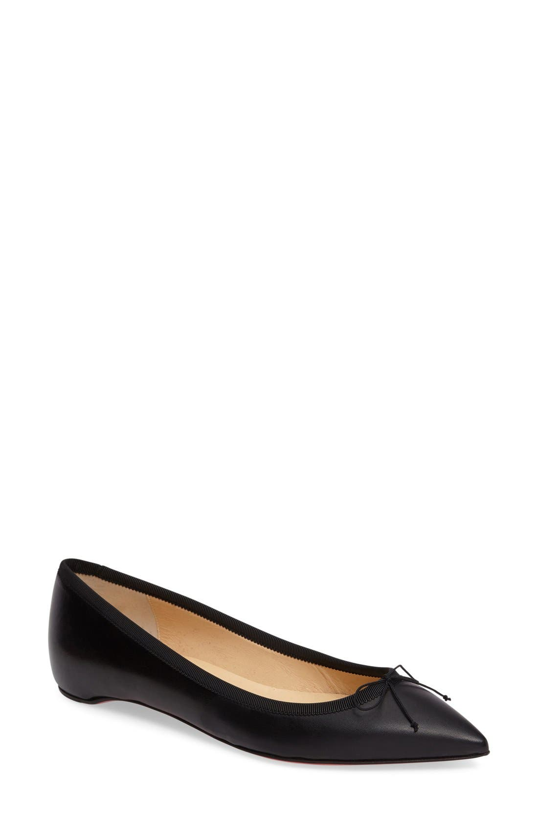 Solasofia Pointy Toe Flat,                             Main thumbnail 1, color,                             Black Leather
