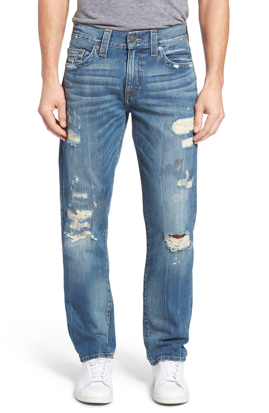 TRUE RELIGION BRAND JEANS Geno Distressed Straight Leg Jeans