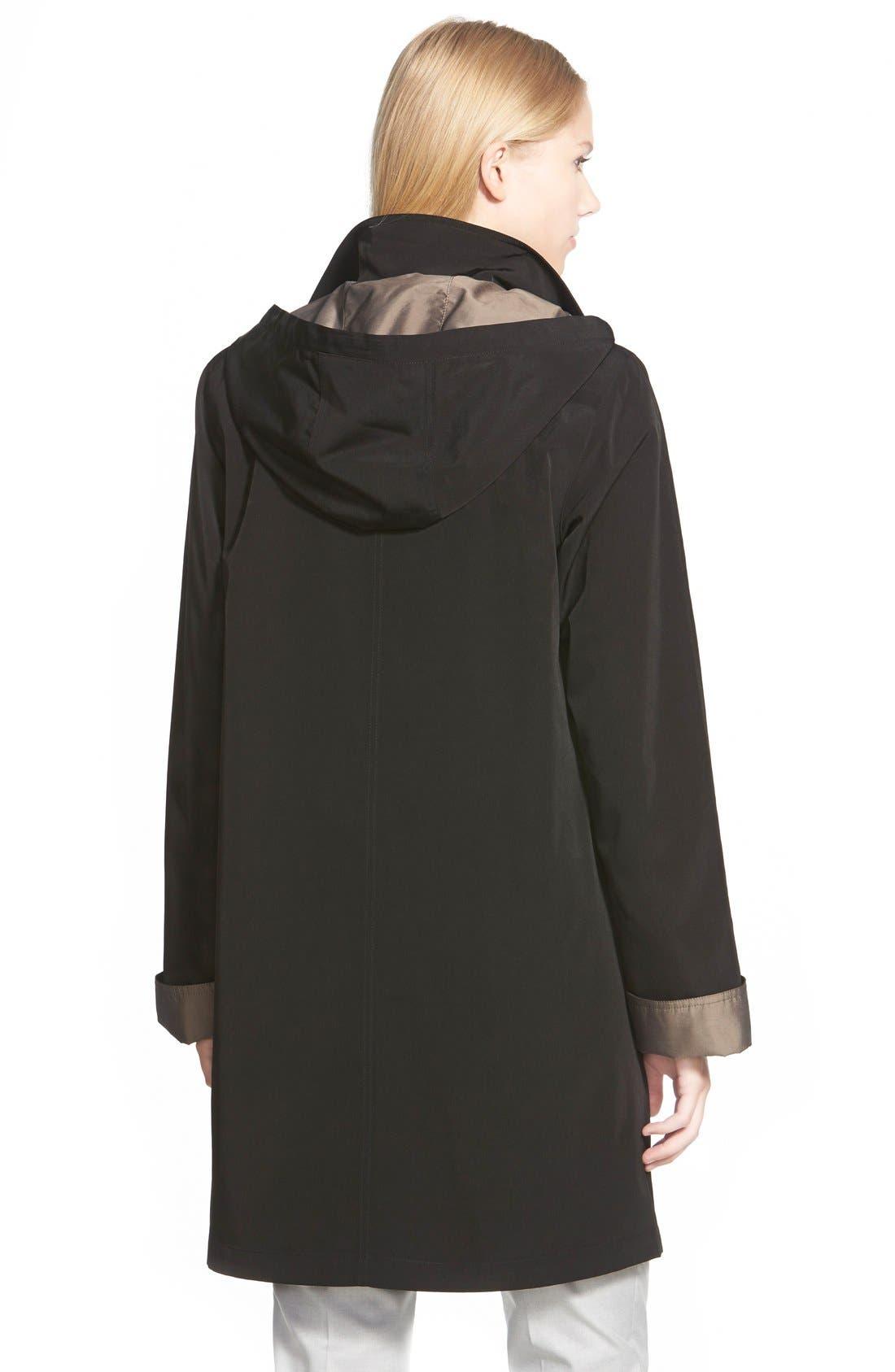 Two Tone Long Silk Look Raincoat,                             Alternate thumbnail 2, color,                             Black