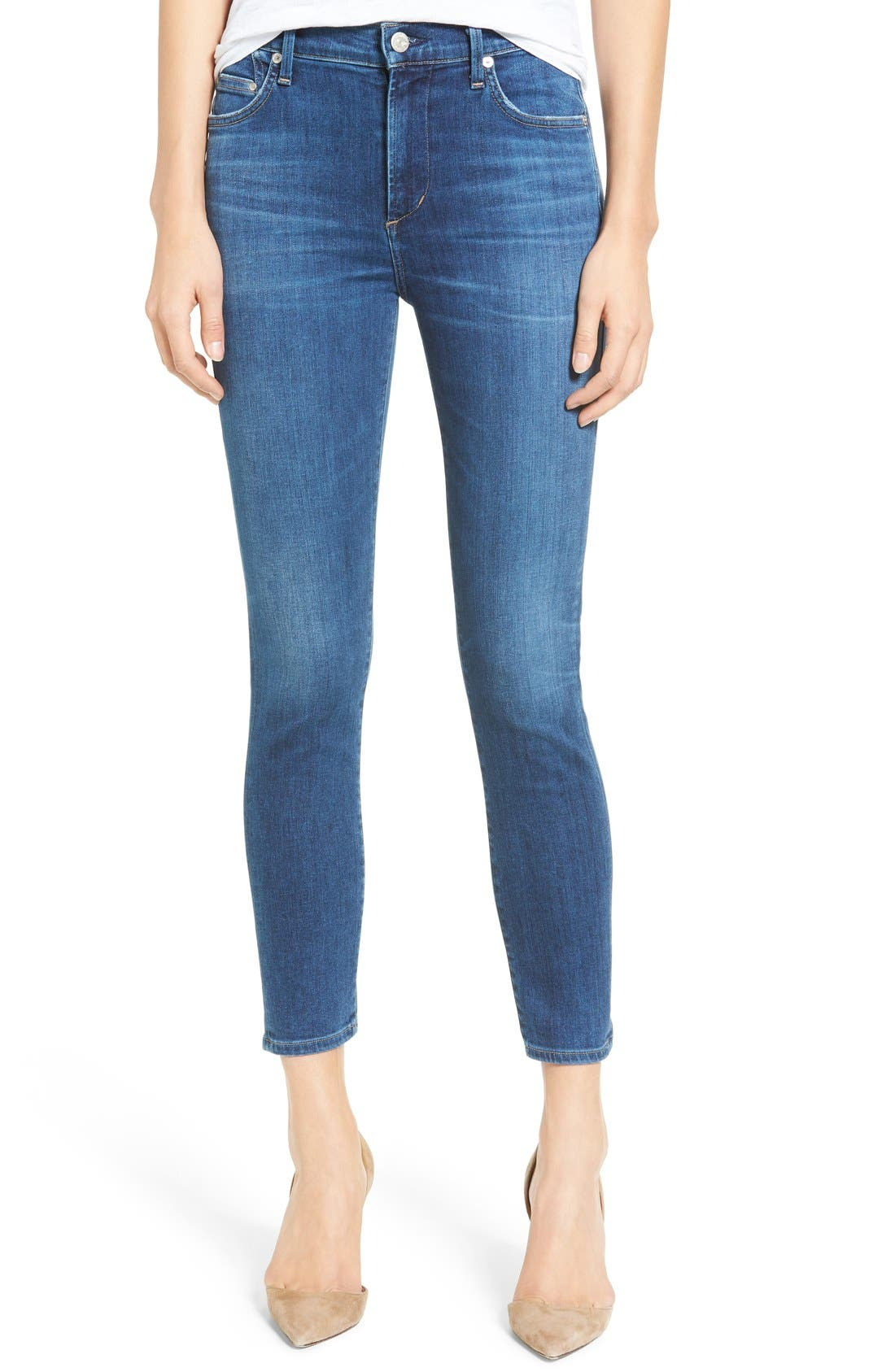 Rocket High Waist Crop Skinny Jeans,                         Main,                         color, Echoes