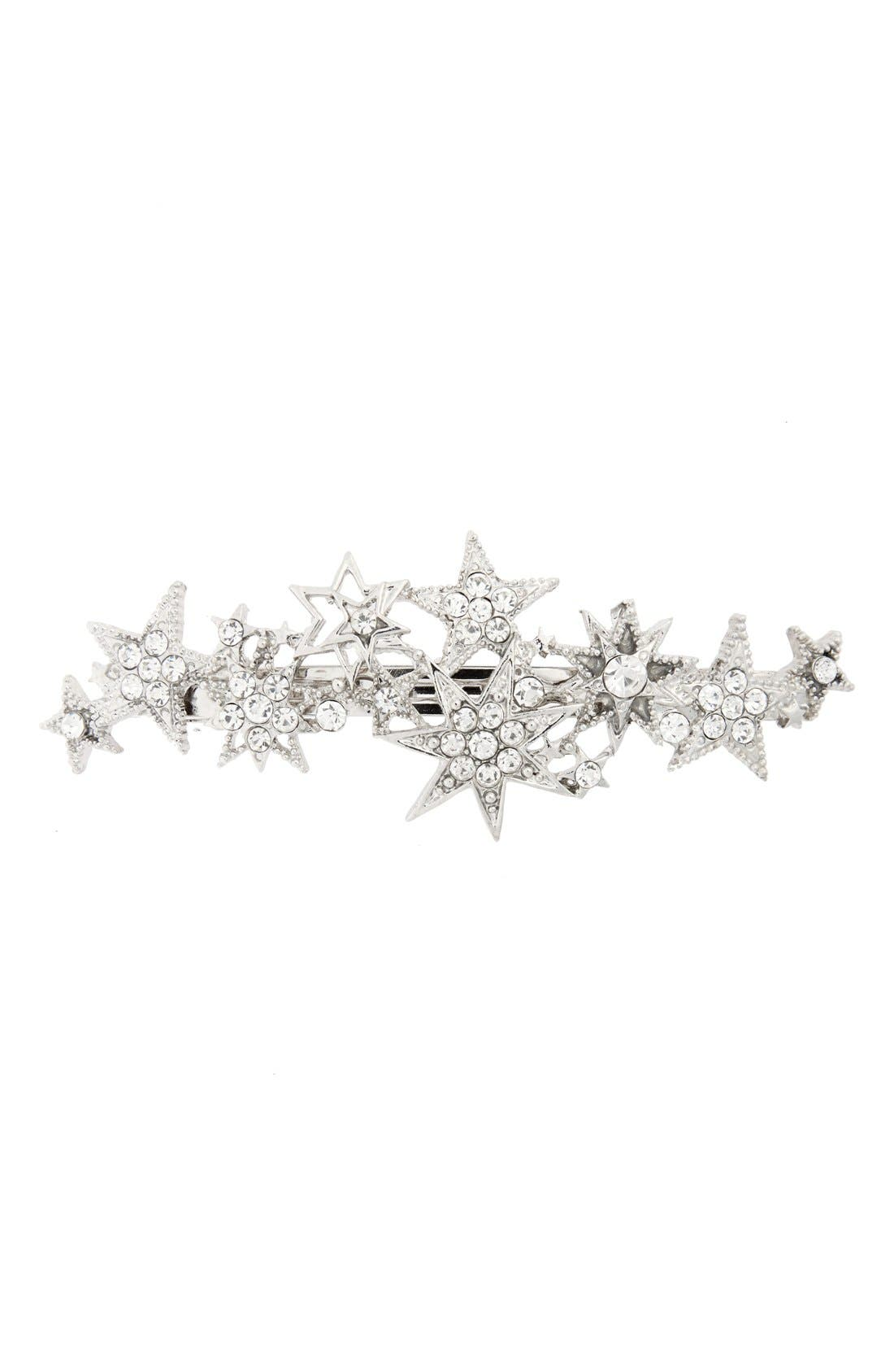 Crystal Star Barrette,                         Main,                         color, Silver