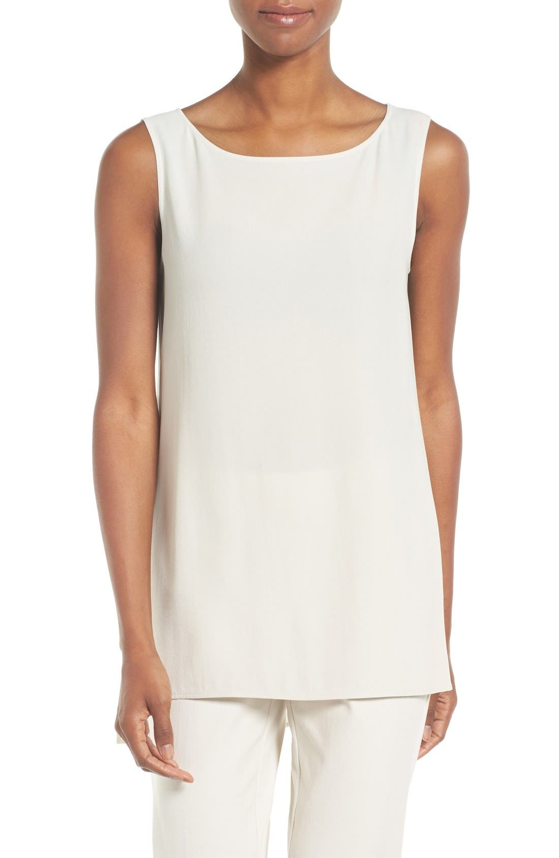 Eileen Fisher Silk Crepe Bateau Neck Shell (Regular & Petite)