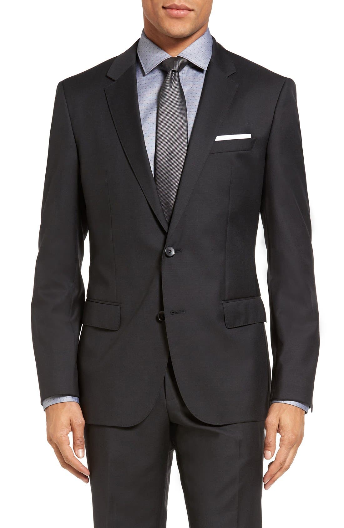 Huge/Genius Trim Fit Wool Suit,                             Alternate thumbnail 5, color,                             Charcoal